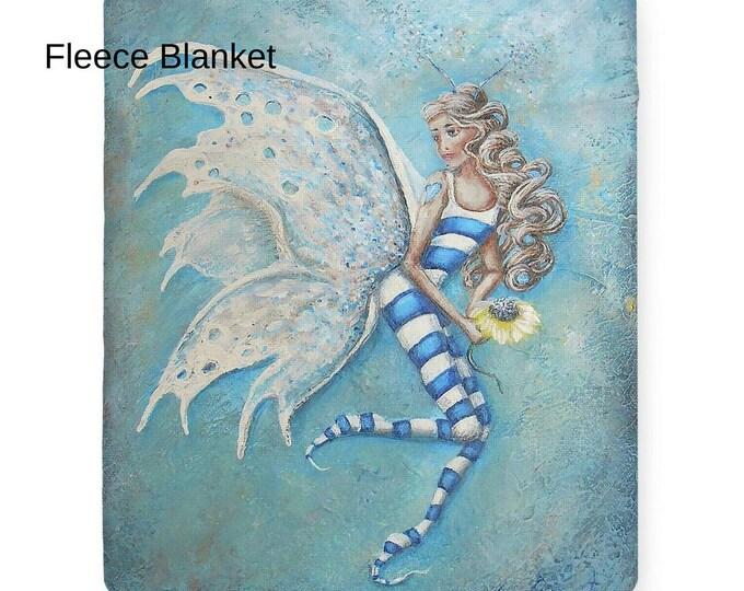 Fleece fairy blanket, art sherpa fairy throw, soft fairy blanket, Nancy Quiaoit