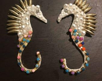 Beaded seahorse appliqués