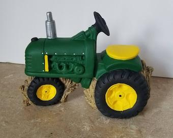 Hand-Painted John Deere Tractor Ceramic