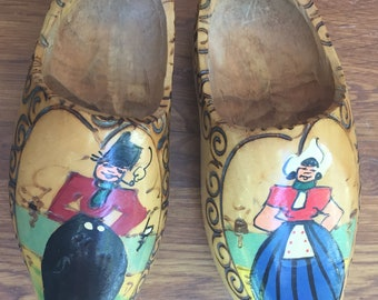 ON SALE  Holland Wooden Shoes Set of 2 Hand Painted Carved Made in Holland Vintage