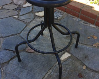 Industrial Metal Stool with Circular Foot Rest