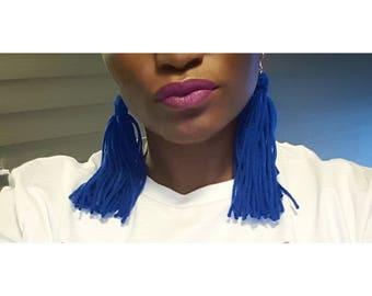 Blue Yarn Tassle Earrings