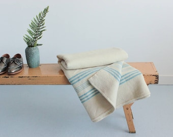 Vintage Cream and Blue Stripe Wool Blanket
