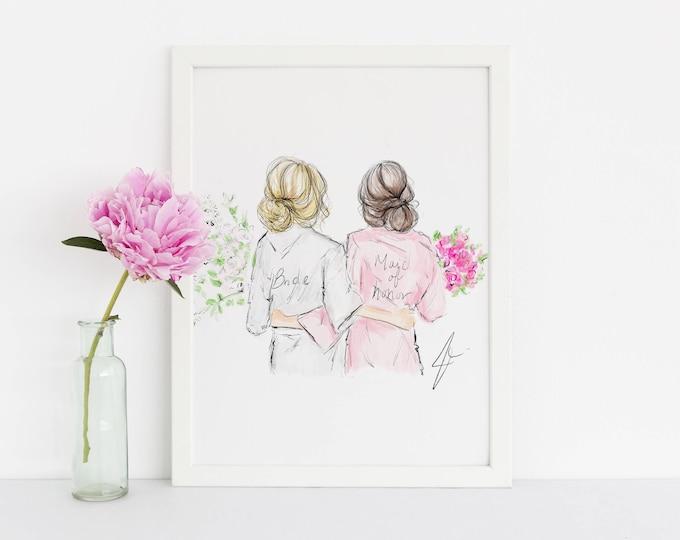 Featured listing image: Bridal Gals (customization available) (Fashion Illustration Print) - Wedding - Bridal Print - Bridal Illustration - Bridesmaids