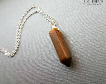 Tiger's eye crystal point necklace-tigers eye point pendant-tigers eye necklace-tigers eye jewelry-tigers eye pendants-silver necklace