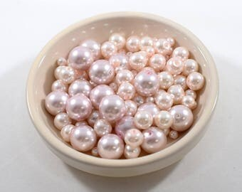 Pink Glass Pearls In Three Sizes
