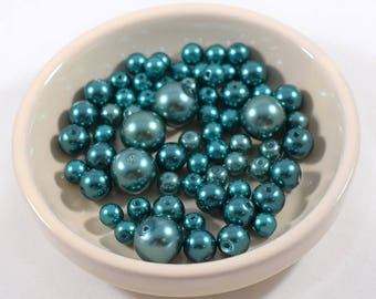 Teal Glass Pearls in Three Sizes
