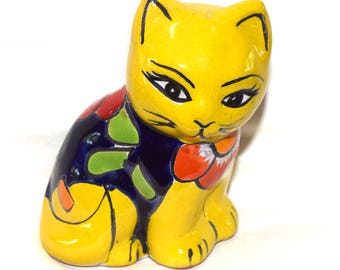 Mexican Talevera Cat - Yellow