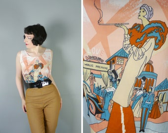 70s NOVELTY top with large art DECO lady print and red carpet CINEMA premiere - mod pop art polyester vest top - L / uk14