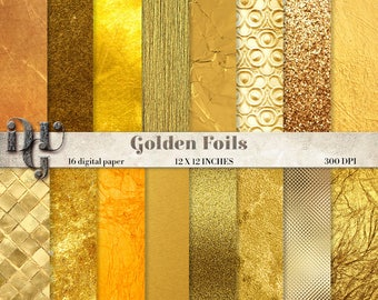 Gold Digital Paper - gold foil digital paper pack gold glitter fashion golden backgrounds Metallic Gold Digital Paper gold metallic Des. 015