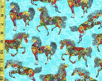 SALE -  Novelty - Colorful Floral Painted Ponies - Turquoise