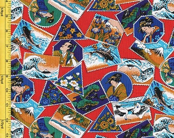 SALE - Japanese Scenic Stamps - Red