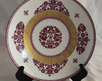 Vintage Pink, White and gold wallplate Made in Austria by Arta