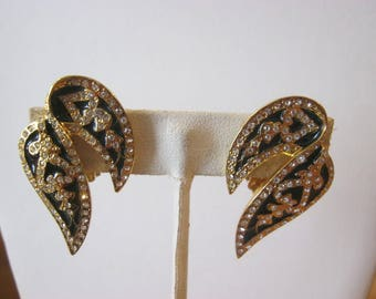 Butler signed vintage clip on earrings, black enamel wings studded with clear rhinestones