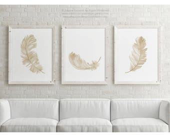 Canvas Feather set of 3, Taupe Brown Beige Yellow Watercolour Art Print, Minimalist Animal Illustration Bird Feathers Picture Light Painting