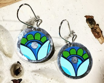 Recycled Blue and Green Floral Earrings
