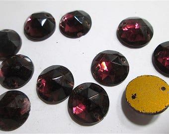 12 Vintage Purple Glass Glitterbacked sew ons.