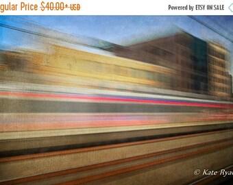 ON SALE Philadelphia, Urban Landscape, Photography, Train Travel, Abstract Art, Dreamy, Wall Art, Office Art, Home Art, Yellow, Brown, Blue,
