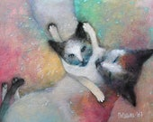 Original Acrylic painting Cat with Kitten. Cat acrylic portrait, Cat wall art. Contemporary animal painting, Modern Acrylic Art.