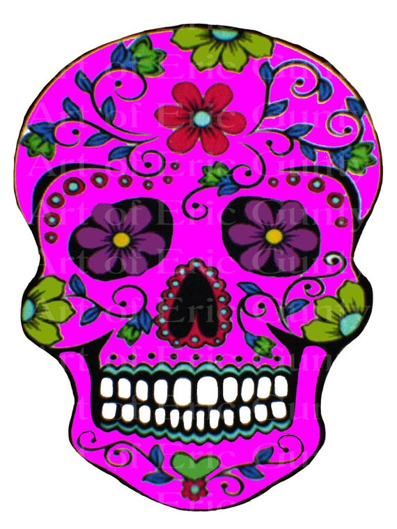 Pink Sugar Skull Halloween Birthday - Edible Cake and Cupcake Topper For Birthday's and Parties! - D22657