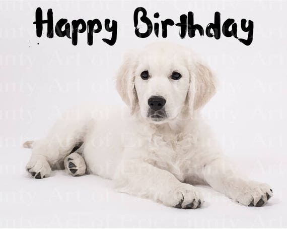 Artistic Puppy Dog Happy Birthday - Edible Cake and Cupcake Topper For Birthdays and Parties! - D22874