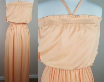 Vintage peach halter maxi dress 1980s