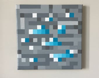 "Minecraft Inspired ""Diamond Ore"" Wall Decor Hand Painted"