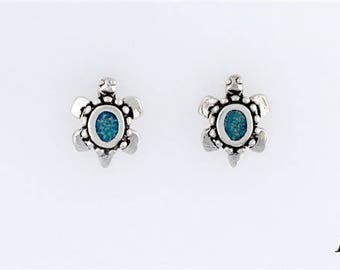 Sterling Silver Turquoise Turtle Post or Stud Earrings