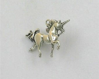 Sterling Silver 3-D Unicorn Charm