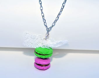 Apple and pink macaroon necklace