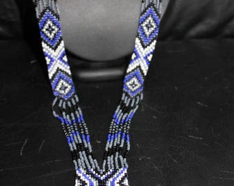 Necklace ethnic Indian made motives tones blue white black and grey