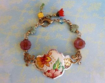 Recycled Tin Bracelet, Tin, Bracelet, Vintage Tin, Floral Tin, Recycled Tin, Upcycled Tin, Reclaimed Tin, Flowers, Soldered Tin, Beaded Boho