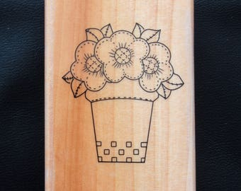 Flower Pot containing Floral Flowers Rubber Stamp by Home and Heart