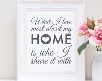 What I love about my home is who i share it with foil print - gold foil - unframed - A4