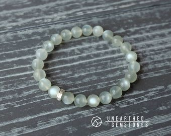 Moonstone Bracelet - Gemstone Beaded Bracelet, June Birthstone Bracelet, Energy Bracelet, Birthday Gift Idea, Wife Gift, For Her