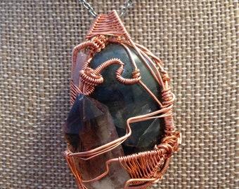 Labradorite, Smokey Quartz and Pink Tourmaline Pendant
