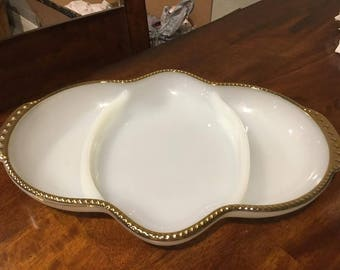 Anchor Hocking Fire King White Milk Glass Divided Relish Dishes Gold Trim