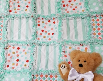Mint, coral, gold and white rag quilt lovey / security blanket for baby