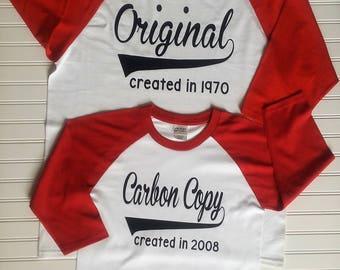 Original Carbon Copy Shirt Set, Mommy and Me Shirt Set, Daddy and Me Raglans, Original Shirt, Carbon Copy Shirt, Mothers Day, Fathers Day