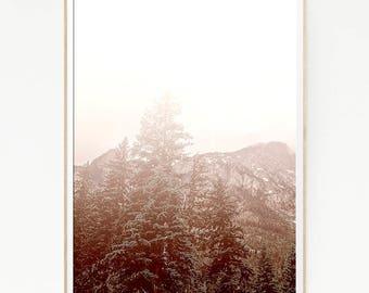 Printable Pine Trees Mountains Print Poster Forest Wall Decor Nordic Art Scandinavian Nature Wilderness Minimalist Snow Wild Winter 1055