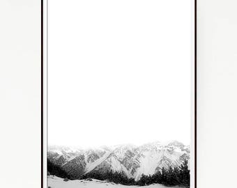 Printable Mountains Print Poster Snow Wall Hanging Nordic Art Scandinavian Monochrome Black White Cloudy Minimalist Wild Winter Fog 1051