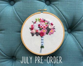 July PRE-ORDER Spot 1 - Embroidered Bridal Bouquet Portrait Custom Hoop Art. Hand Embroidery Floral Keepsake. Wedding Cotton Anniversary.