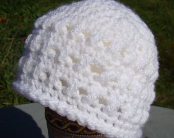 White Crochet Cross Stitch Beanie Hat - Newborn