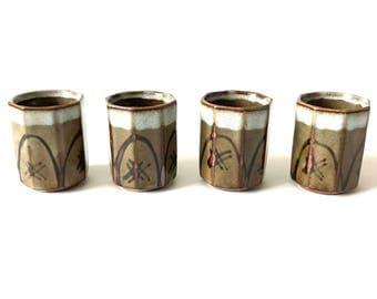 Vintage Stoneware Sake Cups, set of 4