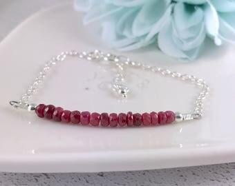Linked Ruby Chain Bracelet, Sterling Silver Ruby Bracelet, Dainty Gemstone Bracelet