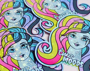 Two Moods Doll Holographic Sticker