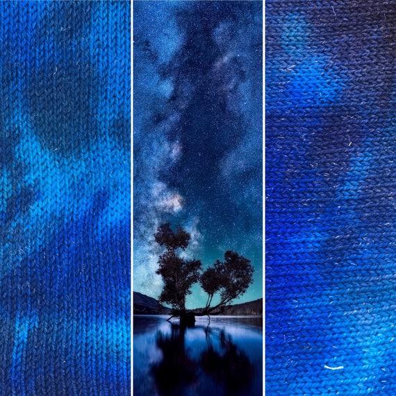 Night Sky Sock Blank, indie dyed merino nylon yarn with silver stellina sparkle