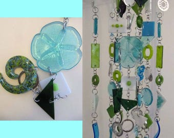 """Sand Dollar Blue: Glass Mobile / Wind Chime featuring Stained Glass and Fused Glass (approx 7"""" diameter x 16.5"""" long)"""