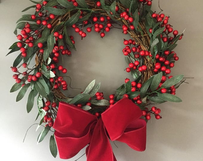 Featured listing image: Red Berry wreath - vine wreath - Christmas wreath - xmas wreath - rustic wreath - natural wreath - red berries