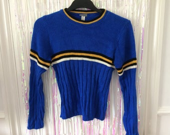 Royal blue with yellow black and white stripe knitted stretch fitted jumper XL